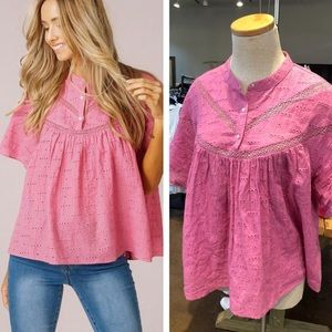Tops - Listicle Pink Eyelet Blouse